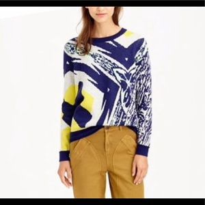 J. Crew Navy Gold Pattern Wool/Cashmere Sweater